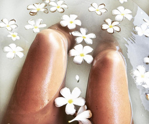 flowers, bath, and white image