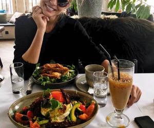 model, josephine skriver, and food image