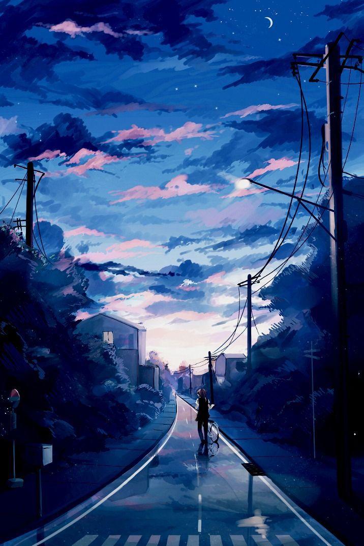 blue anime aesthetic wallpaper laptop