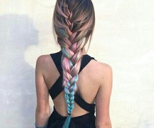 blue, braided hair, and hair image