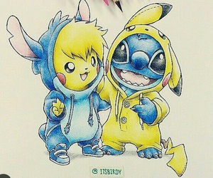 drawing, pikachu, and stitch image