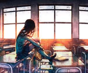 school, anime, and art image