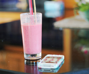pink, smoothie, and love image
