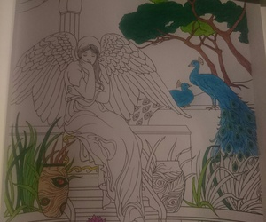 lake, peacock, and adult coloring book image