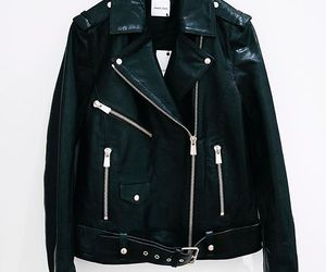 black, leather jacket, and fashion image