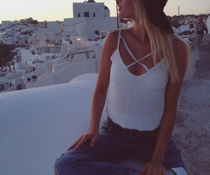 blonde, girl, and santorini image