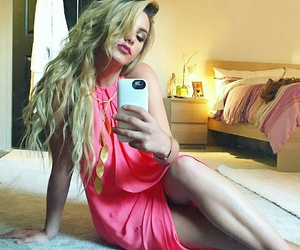 blonde, dress, and pink image