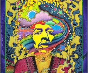 Jimi Hendrix, colors, and rainbow image