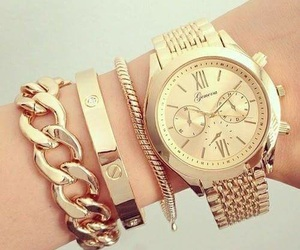 gold, watch, and bracelet image