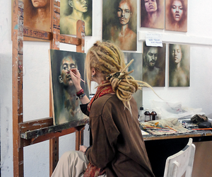 girl, art, and hippie image