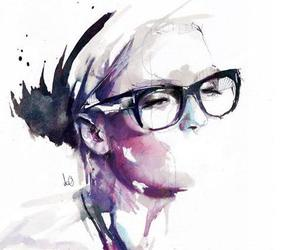 art, girl, and glasses image