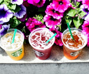 starbucks, flowers, and drink image