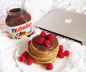 nutella, pancakes, and food image