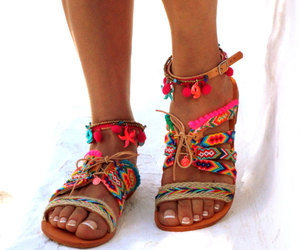 etsy, leather sandals, and bohemian shoes image