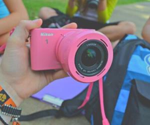 nikon, camera, and pink image