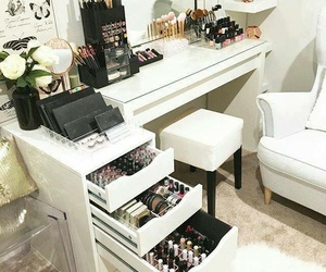 makeup, beauty, and dressing table image