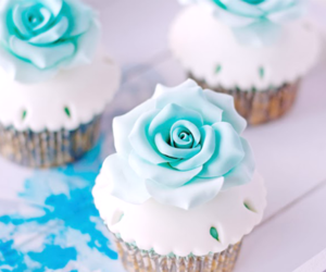 cupcake, blue, and flowers image