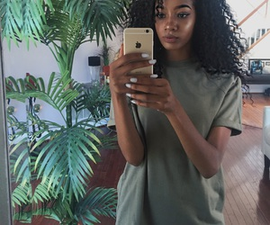 black girl, plants, and baddie image