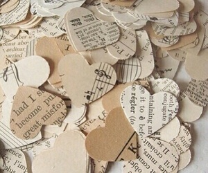 hearts, music, and beige image