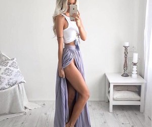 long skirt, outfit, and purple image