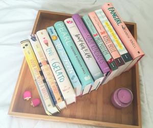 book, bookshelf, and pearl image