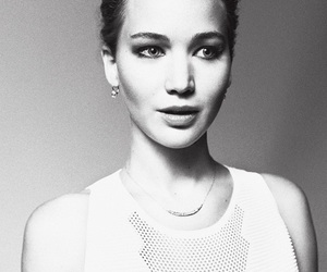 Jennifer Lawrence, black and white, and actress image