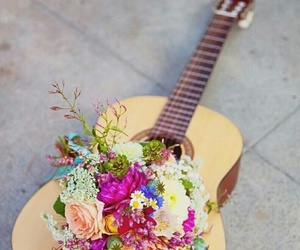 flowers, music, and guitar image