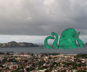 octopus, city, and monster image