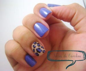 blue, leopard print, and nail art image