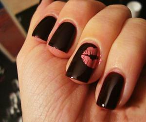 nails, kiss, and black image