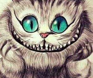 cat, smile, and alice in wonderland image