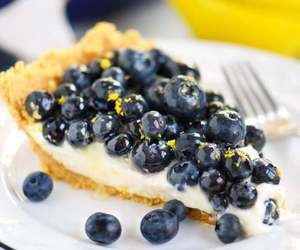 blueberries, cream, and dessert image
