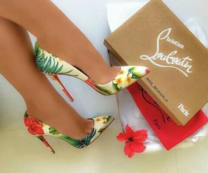 shoes, louboutin, and flowers image