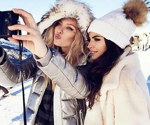 girl, winter, and best friends image