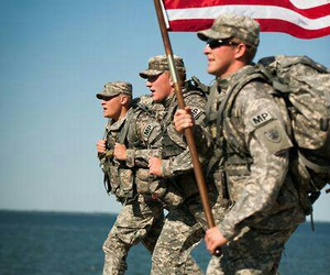 american flag, soldiers, and three image