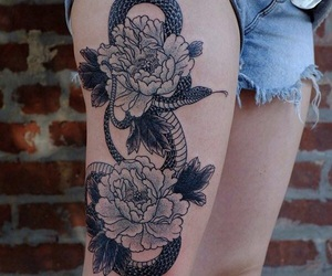 peonies, snake, and tattoo image