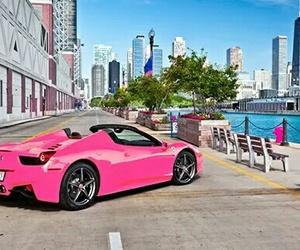 pink, car, and ferrari image
