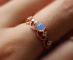 ring, diamond, and opal image
