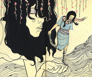 drawing, hair, and illustrarion image