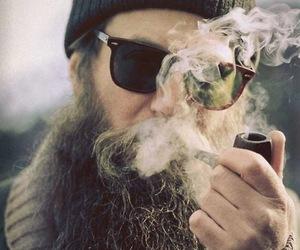 beard, smoke, and man image