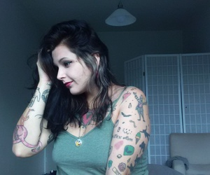cool girl, tattooed girl, and lipstick image