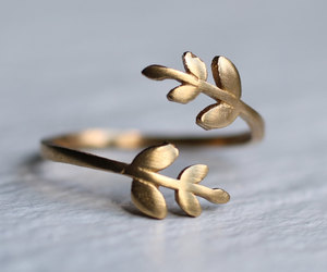 brass, ring, and flower ring image