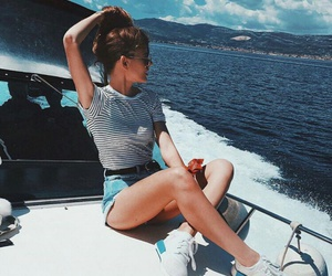 fashion, girl, and boat image