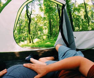 camping, couple, and nature image