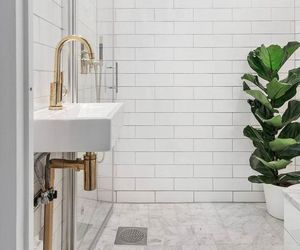 bathroom, gold, and gray image