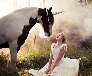 horse, girl, and unicorn image