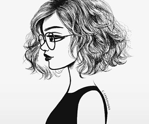 curly, glasses, and drawing image