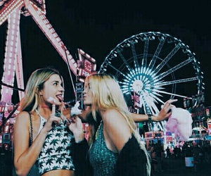 carousel, night, and bestfriends image
