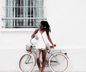 girl, white, and bike image