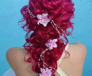 hairstyles, inspiration, and cherry red image